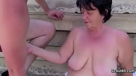 German Pair Fuck Outdoor Doggystyle and Cum on Pussy