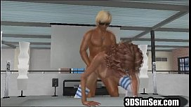 horny 3d animated girl loves fat dick