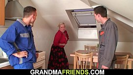 Old grandmother double fuck