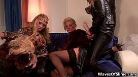 Four hot blondes in...