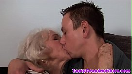 Chubby granny assfucked by younger man