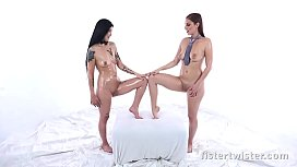 Lesbian Fisting - Asian babe orgasms during fist fuck