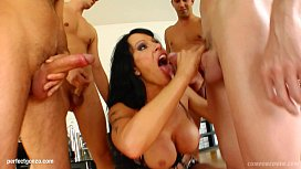 Cony engadged in some group blowjob facial bukkake action at Cum For Cover