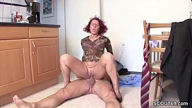 Lucky guy helps German Redhead MILF and fucks her