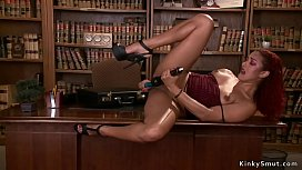 Ebony fucks machine and squirts in office