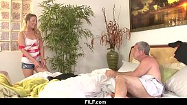 FILF - BFF sees Dads big cock while he naps