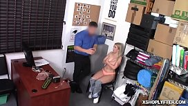 Blonde babe Dixie Lynn c. on the security officers huge dick
