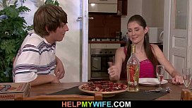 Hot wife cucks hubby with pizza boy