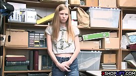 Slender virgin teen thief got fucked for shoplifting