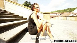 Busty amateur Czech babe Katia in glasses pounded for money