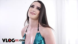 All Natural Nympho Brunette In Blue Bikini For Hardcore BTS With Facial