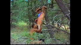 Cowboy appointed rendezvous his black friend William Grail in the secret place in the wood to clean each others pipes in private