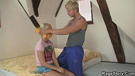 Blonde cheater takes his angry cock deep