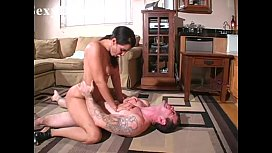 Hot mil isis love stands on  a sexy guy's chest and rides him dominantly