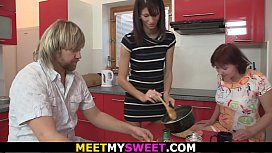 Family threesome with his young wife