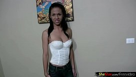 Dark skin ladyboy in...