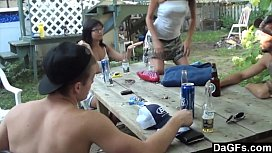 Outdoor foursome with hot...