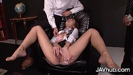 JAVHUB Threesome with cute Japanese babe Aiko Endo