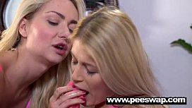Two cute blondes get...