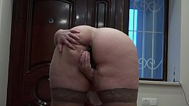 Anal masturbation after an exciting walk in the down jacket on a naked body, fat ass and hairy pussy.