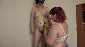 Mature lesbians have fun with cream and vaginal balls. BBW fucks girlfriend in hairy pussy.
