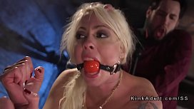 Busty gagged blonde got...
