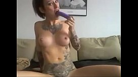 short haired alternative girl happily showing her holes   -tinycam.org