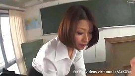Horny Sexy Teacher with Tiny Tits Plays with 2 Teenage Schoolboys inside the Classroom