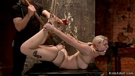 Blonde cunt banged with dildo on hogtie