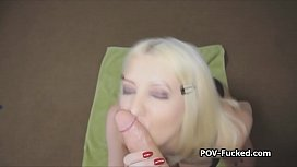Busty blonde blows and...