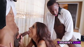 Hot milf receives two black visitors with loaded big black cocks