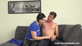 Shy amateur couple shows their sex skills