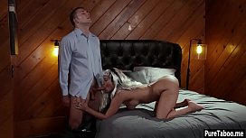 Annoyed wife and husbands lover did it in front of him