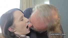 Cute schoolgirl was teased and nailed by her senior tutor
