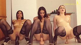 Pervert Family Sisters and cousin jumping on dildos by size
