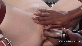 Ebony nurse fucks strapped...