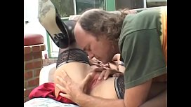 Getting thin on top dude helps playful redhaired housewife in black lingerie Rubee Tuesday to have a good time near the pool