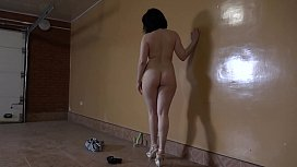 Anal masturbation in the garage. Brunette fingering hairy pussy and with dildo fucks juicy ass.