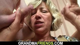 Sexy old lady and boys threesome fuck