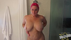 Spying on curvy milf showering