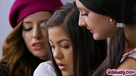 Three h. students Eliza Ibarra Kendra Spade and Vanna Bardot share naughty kisses