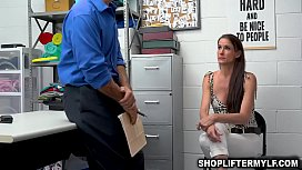 Horny security guard Rusty Nails caught on CCTV fucking with hot MILF thief named Sofia Marie after she shoplifts some items from the store.