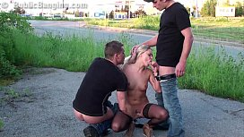 Daring PUBLIC sex threesome...