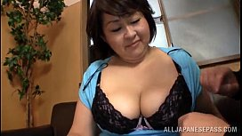 Fat Japanese woman gives...