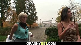 80 years old blonde prostitute rides his horny cock