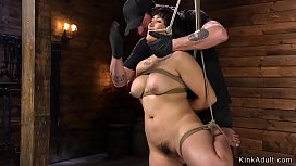 Hogtied hairy Asian gets tormented