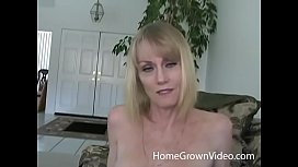 Mature blonde amateur loves younger cock