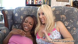 Interracial Lesbian Masturbation and Real Orgasms