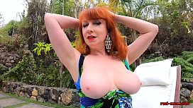 Red XXX lifts her dress and touches herself outside
