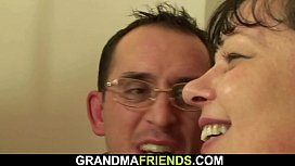 Two dudes film old threesome orgy with mature plumper